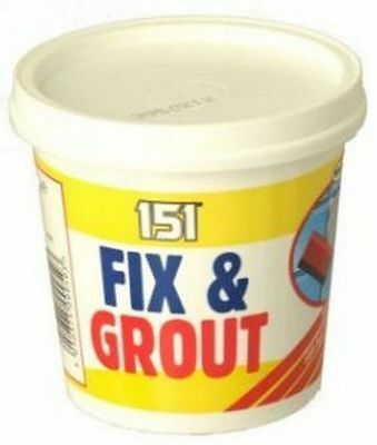 NEW TILE ADHESIVE FIX AND GROUT READY MIXED 500g TUB WHITE