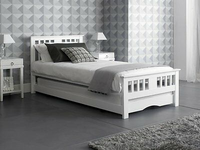 White 3ft Single Guest Day Bed Including trundle - 2 x Memory foam mattress