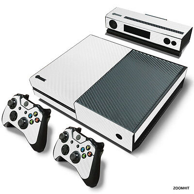 Xbox One Console Skin Decal Sticker White Carbon + 2 Controller & Kinect skins