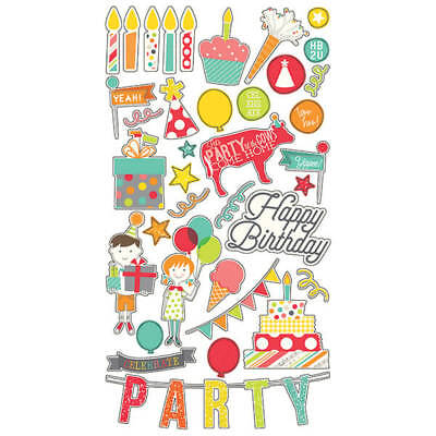 Simple Stories - Lets Party - Chipboard 6x12 Inch 37 tlg
