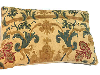 Antique French Needlepoint Tapestry Pillow