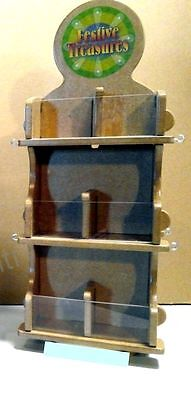 DOUBLE SIDED WOOD 12 Bin & 8 HOOK COUNTERTOP DISPLAY Rotary spinner