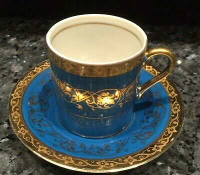 Arnart 5th Ave Hand Painted Blue/Gold Demitasse Cup and Saucer #2055