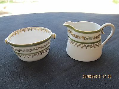 IMPERIAL CHINA AUSTRIA mini creamer & open sugar bowl green band gold swag star
