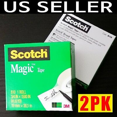 2 packs 3m scotch magic tape 810 3/4 in x 1500 in (41.6 yd) invisible jumbo roll