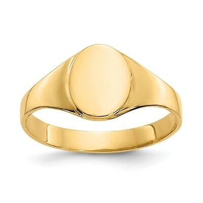 Genuine 14k Yellow Gold High Polished Oval Baby Signet Ring  0.82 gr