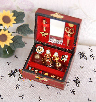 2016 1:12 Dolls House Miniature Bedroom Wooden Dressing Case Makeup Perfume Box