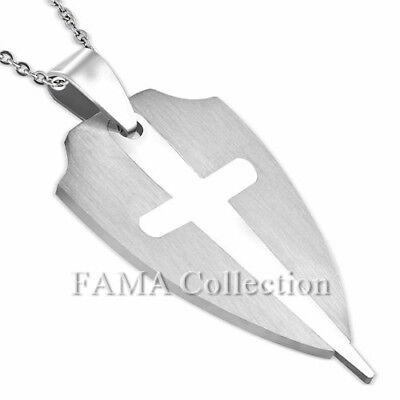 FAMA Stainless Steel 2-Part Cut-out Cross Shield Pendant + Steel Chain Necklace