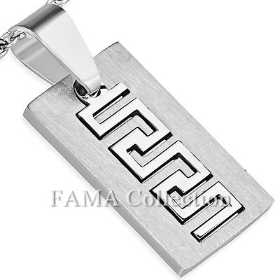 FAMA Stainless Steel 2-Part Cut-out Greek Key Tag Pendant + Steel Chain Necklace