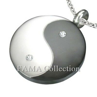 FAMA Stainless Steel Yin Yang Pendant with Clear CZ + Steel Chain Necklace