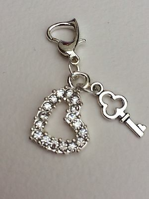 Wedding Clip On Charm With Clear Crystal Heart. Wedding. Gift. Bouquet.bracelet