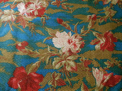 Antique French Floral Carnation Cotton Linen Fabric ~Red Rose Pink Prussian Blue