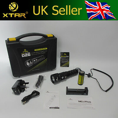 Xtar D26 100m Scuba Diving Torch CREE XM-L2 U3 1100 Lm + 26650 Battery & Charger