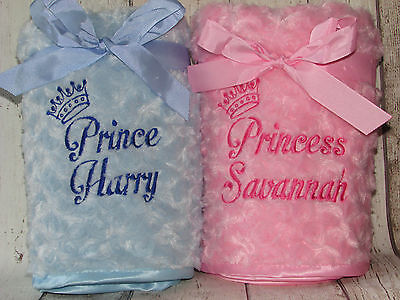 Personalised Luxury Baby Blanket Princess Prince Embroidered Name Boy/Girl Gift