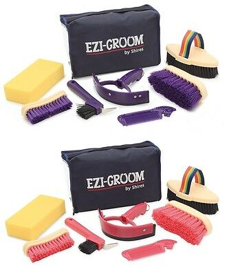 Shires Ezi-Groom Childs 7 piece Grooming Kit PINK OR PURPLE **ONE SIZE**