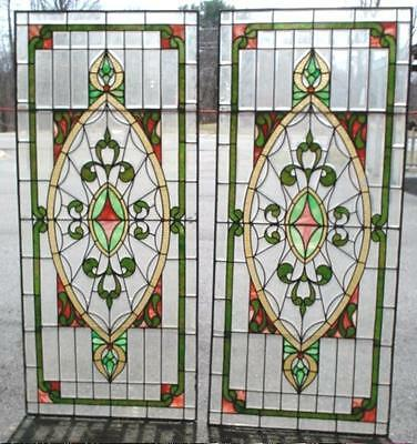 "Stained Leaded Glass Windows Large 64"" HAND CUT GLASS Arts & Crafts Beveled"