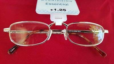 Nwt Magnivision Ct1112 Rr58 Reading Glasses Gold Metal Frames +1.25 50 Readers