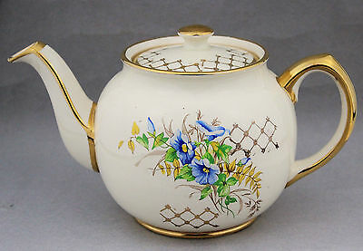 Vintage SADLER Gilt Teapot Tea Pot Blue Floral English China 1849D High