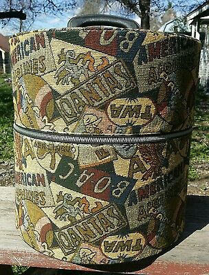 Vintage Munro Carry-All Wig Hat Travel Airline Luggage Carrying Case Tapestry