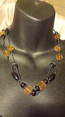 Dark and Light Brown Beaded Necklace