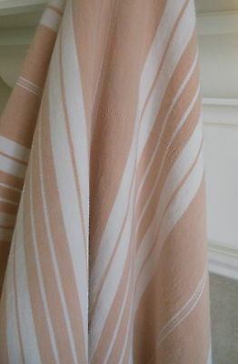 Antique French Wide Stripe Cotton Ticking Fabrc ~ Old Apricot Dusty Peach