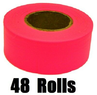 (48) Rolls 65603 150' ft Glo Pink Vinyl Flagging Tape/ Marking Ribbon
