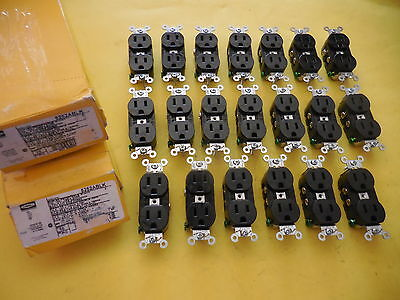 20 Hubbell 5252Ablk Duplex Receptacle Black 15A , 125V , 2 Poles,free Shipping!!