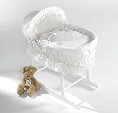British Made Full White Moses Basket With White Dressing. Inc Rocking Stand