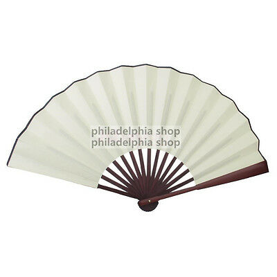 Blank white Spun Silk Calligraphy Painting Writing Folding Hand Fan Decor 158