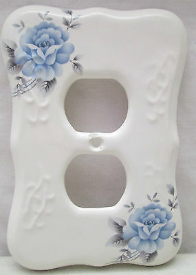 Vintage TH Athena USA Porcelain Double Outlet Cover Blue Rose Flower Small Chip