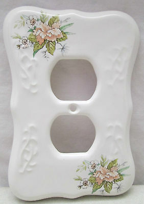 Vintage TH Athena USA Porcelain Double Outlet Cover White Flowers Floral