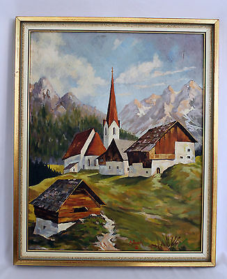 Vtg Signed Dated Oil on Board Landscape Painting of Mountain Town A. Busch '53