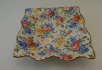 Vintage James Kent LTD CHINTZ Rosalynde  5 inch Nut Dish Square Scalloped Tray