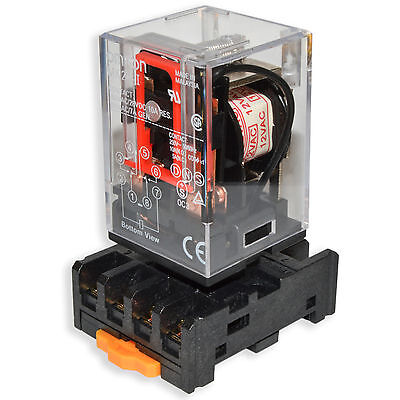 (2 PCs) 10A Omron MK2P-I Cube Relays 12V/AC Coil with PF083A Socket Base