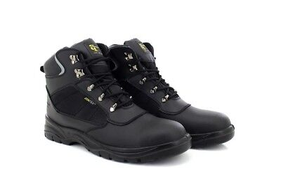 9ba18f2ab39 GRAFTERS WATERPROOF SAFETY Hiker Black Leather Mens Work Boots UK6 ...