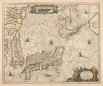 HJB-AntiqueMaps : 1658 Map of Japan and East Asia by Jansson