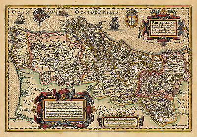 HJB-AntiqueMaps : 1623 Map of Portugal by Mercator and Hondius