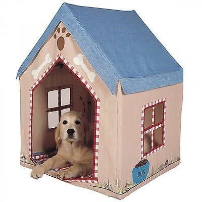 Large Fabric Portable Dog House / Kennel with Floor Quilt by Win Green * Pet Bed