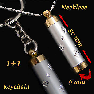 Snuff  Tube Pendant + Key Chain magnificent Plated gold and silver  long chain