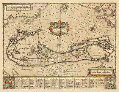 HJB-AntiqueMaps : 1654 Map of Bermuda by Jansson