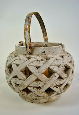 Large Rustic Distressed Cream Open weave style Candle Holder with  Handle