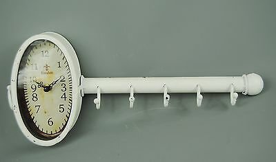 Shabby Chic Antique White Distressed Wall Clock with Coat Key Holder Hooks