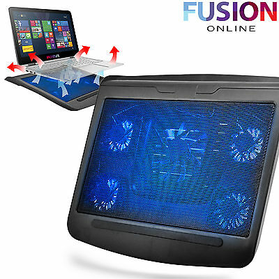 """5 Fan Laptop Cooler Cooling Stand Pad Console 10-17"""" Extra Usb Port Notebook T5"""