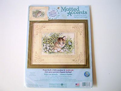 Dimensions Matted Accents Kitten and Butterfly Counted Cross Stitch Kit