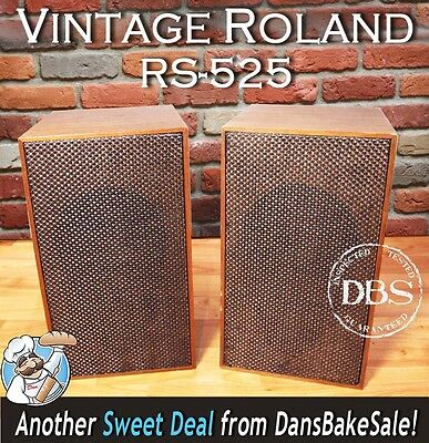 Roland 1970's Pair Vintage RS-525 Bookshelf Speakers 2-Way - Very Hard to Find!