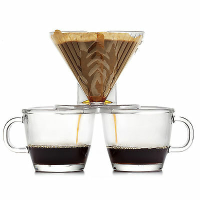 Home Coffee Double Dripper CLEAR Pour Over Tea Brewing Drip Two Cups At a time