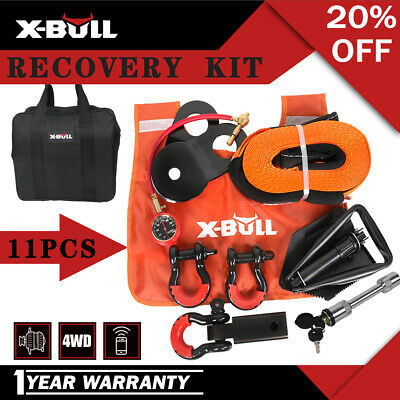 X-BULL 4WD Recovery Kit Snatch Straps Bow Shackles Pulley Block Shovel Damper