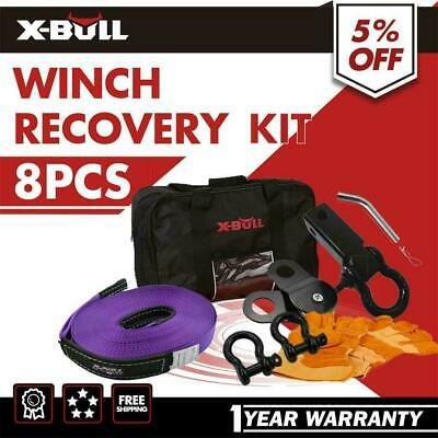 X-BULL 4WD Recovery Kit Snatch Straps Bow Shackles Pulley Hitch Receiver 4X4