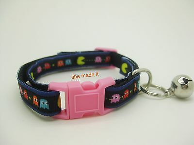 Pac Man Cat Nylon Collar Cutie Very Strong Adjustable + Bell