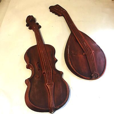 2 Vtg MCM Metal Red Musical Instrument Wall Hanging Plaques Mandolin Lute Violin